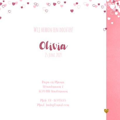 Geboortekaartje schattig roze kaartje met lieve baby pinguïn 3