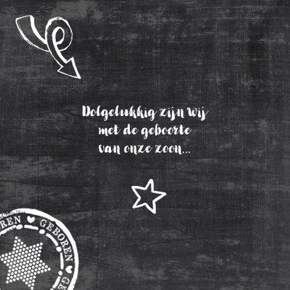 Geboortekaartje schoolbord stoer 2