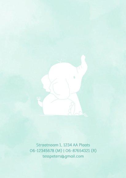 Geboortekaartje silhouet waterverf olifant 2