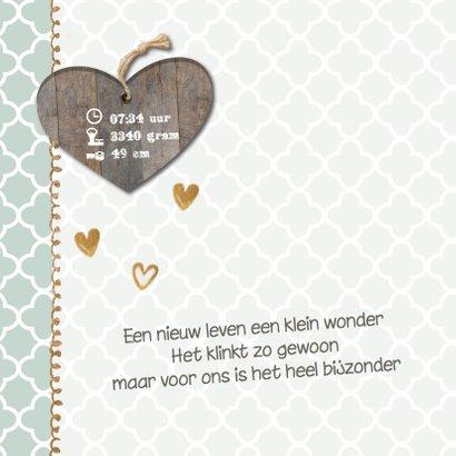 Geboortekaartje Stef mint groen hout- LO 2