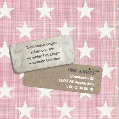 Geboortekaartje ster roze Liza 2