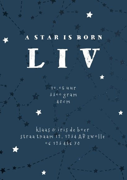 Geboortekaartje sterrenbeeld stier universum 3