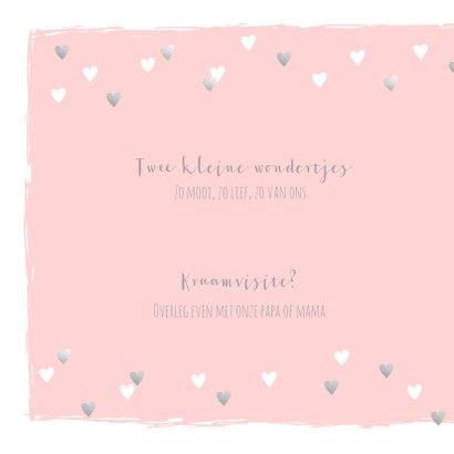 Geboortekaartje tweeling hartjes roze zilver 2