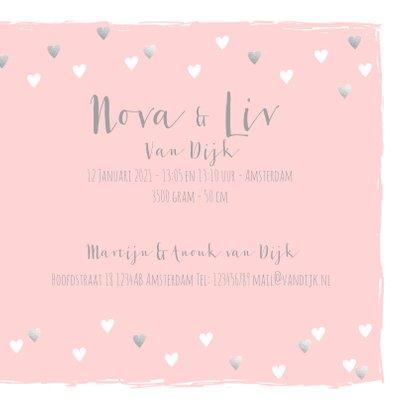 Geboortekaartje tweeling hartjes roze zilver 3