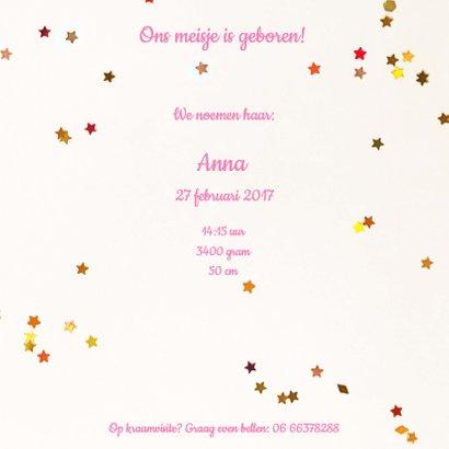 geboortekaartje veer meisje roze 3