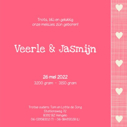 Geboortekaartje Veerle Jasmijn 3