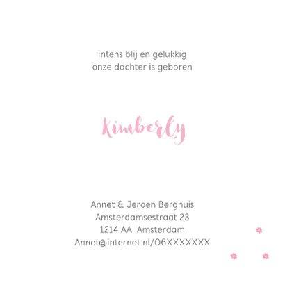 Geboortekaartje voor een meisje met een roze krans 3