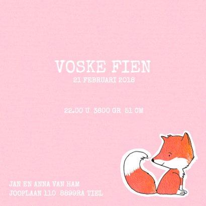 Geboortekaartje vos roze pastel 3