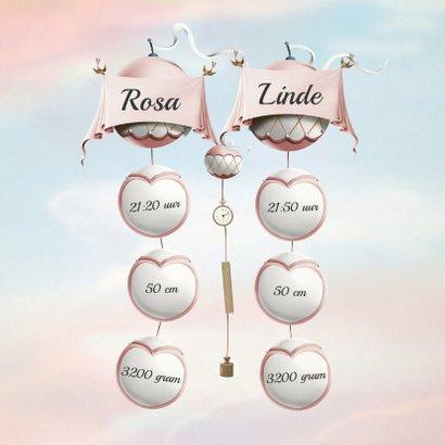 Geboortekaartje wiegjes aan ballonnen tweeling meisjes 2