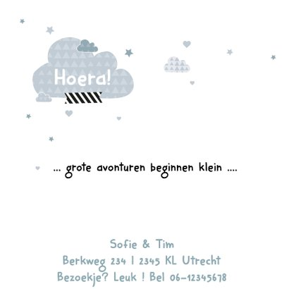 Geboortekaartje wolkjes uil Bram 2