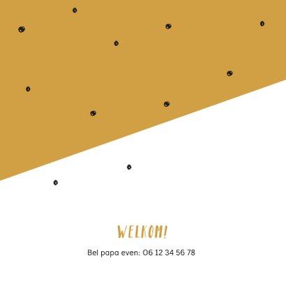 Geboortekaartje zwarte confetti en geel vlak 2