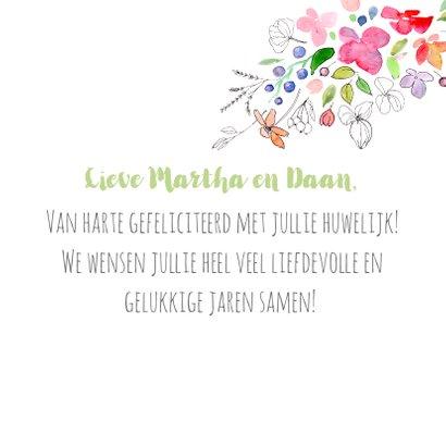 Gefeliciteerd met jullie huwelijk, aquarel bloemen 3