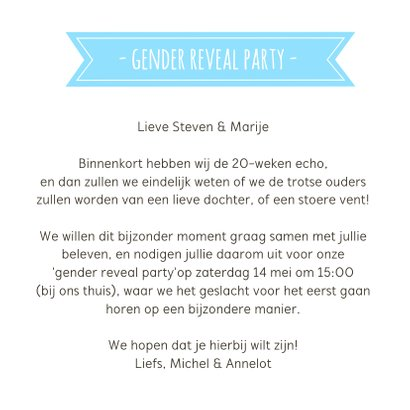 Gender reveal party uitnodiging met roze en blauwe muisjes 3