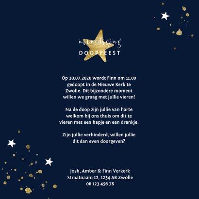 Gouden spetters en sterren doopkaartje 3