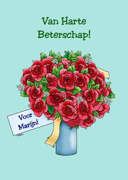 Grappige beterschapskaart met 2 kikkers en rozen 3