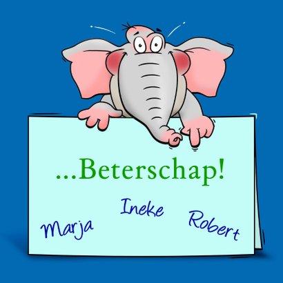 Grappige beterschapskaart olifant met brief 3