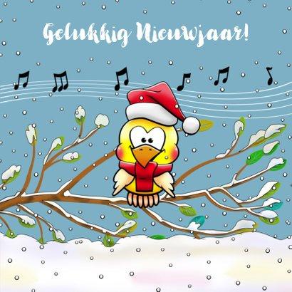 Grappige kerstkaart met warm geklede vogels in de sneeuw 3