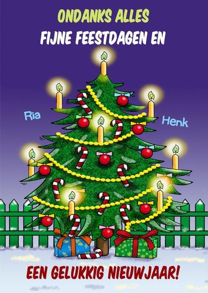 Grappige kerstkaart opkikker met mooie kerstboom 3