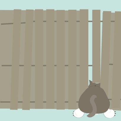 Grappige sterkte kaart met kat klem tussen schutting  2