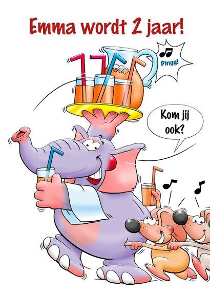 Grappige uitnodiging voor kinderfeest met leuke dieren 3