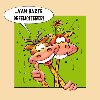 Grappige verjaardagskaart met giraffen als stripverhaal 3