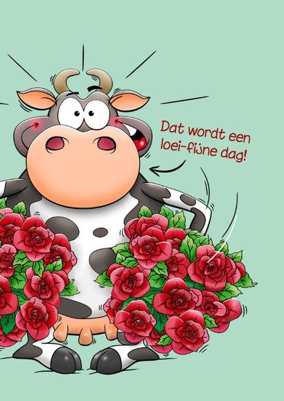 Grappige verjaardagskaart met verbaasde koe en rode rozen 3