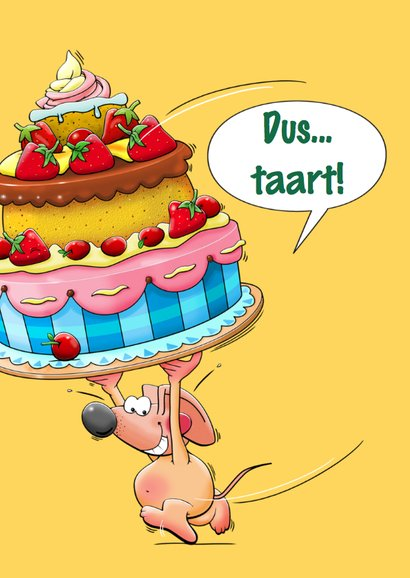 Grappige verjaardagskaart voor kind met 4 muizen en taart 3