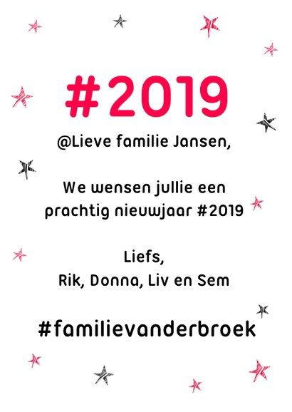 Hashtag humor nieuwjaarskaart 2019 3