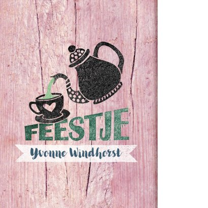 High tea uitnodiging vrouw roze hout stempel 2