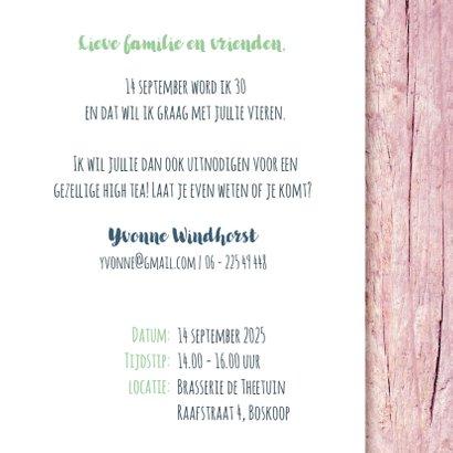 High tea uitnodiging vrouw roze hout stempel 3