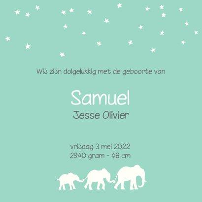 Hip geboortekaartje met silhouet van 3 olifantjes 3