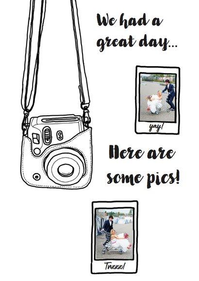 Hippe bedank kaart voor trouwdag met camera en foto's 2