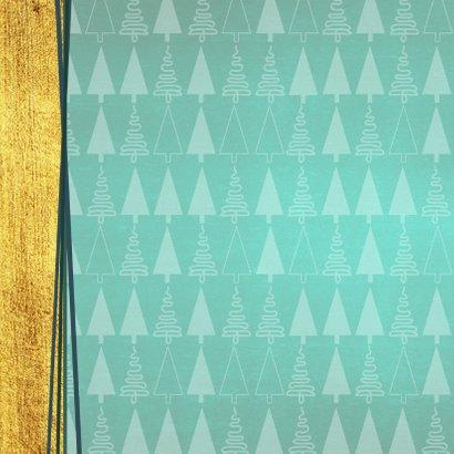 Hippe foto kerstkaart goud groen kerstboom 2