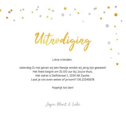 Hippe uitnodiging feestje met goud en zilver confetti 3