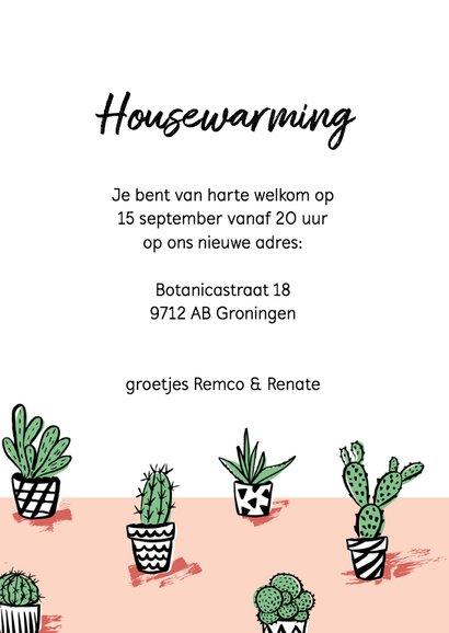 Housewarming uitnodiging gezellige cactus plantjes 3