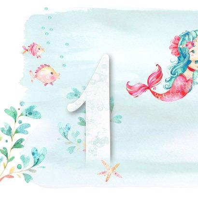 Jarigkaart  1 jaar met zeemeermin, vissen en zeester 2