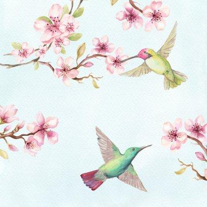 Jarigkaart kersenbloesem met kolibri 2