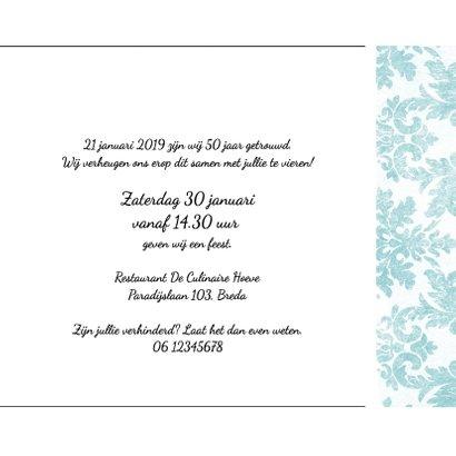 Jubileum, 50 jaar huwelijk, met retro bloemenbehang 3