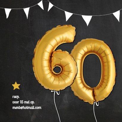 Uitnodiging jubileum 60 jaar ballonnen goud 2