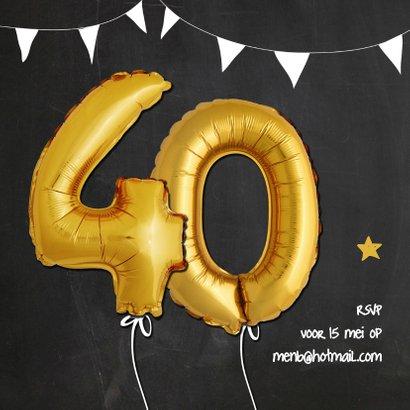 Uitnodiging jubileum ballonnen goud 40 2
