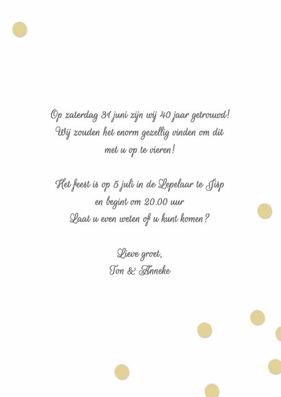 Jubileum huwelijk uitnodiging 40 jaar 3