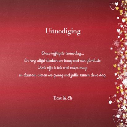 Jubileum trouwdag stijlvolle rode uitnodiging 3