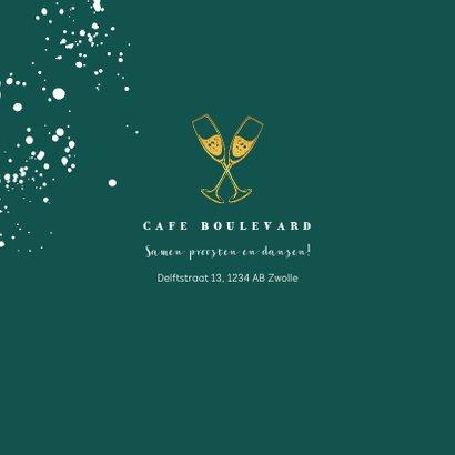 Jubileumkaart 50 jaar huwelijk groen stijlvol met champagne 2