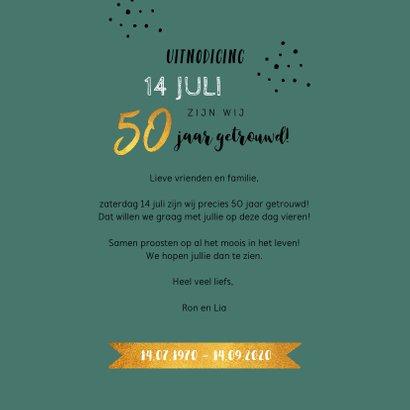 Jubileumkaart 50 jaar huwelijk hip met goud en foto 3
