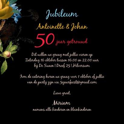 Uitnodiging Jubileum bloemen oude meesters jaren aanpasbaar 3