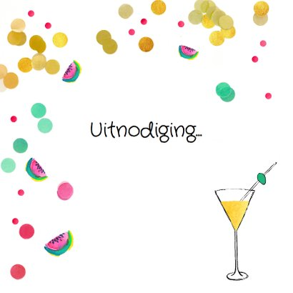 Jubileumkaart cocktail party meloen 2