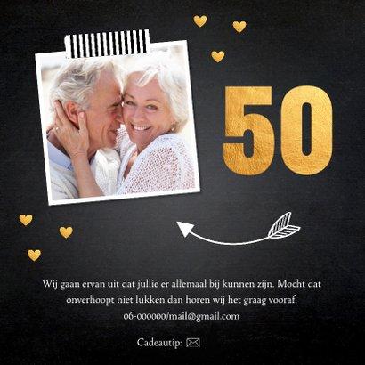 Jubileumkaart foto hartjes goud 50 jaar 2