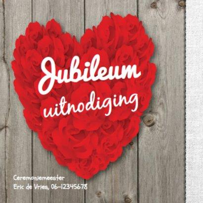 Jubileumkaart groot hart van rozen op hout 2