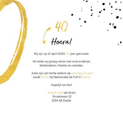 Jubileumkaart met gouden 40, spetters en foto 3