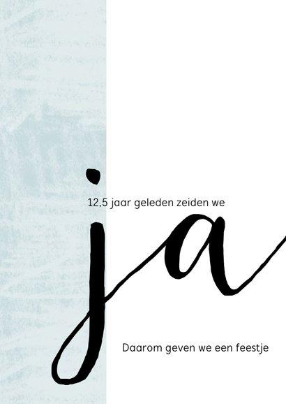 Jubileumkaart modern 12,5 jaar huwelijk 'ja' 2